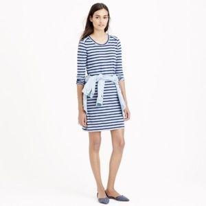 {J. Crew} Blue Striped Side Zipper Dress